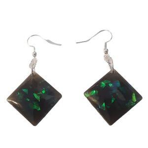 Black faux opal diamond shaped dangle earrings